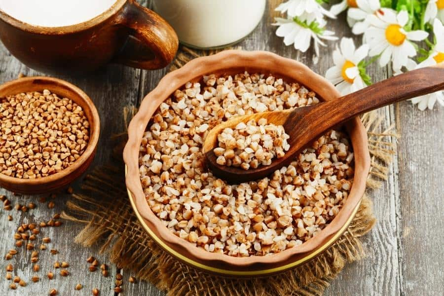 Buckwheat for hair in a bowl