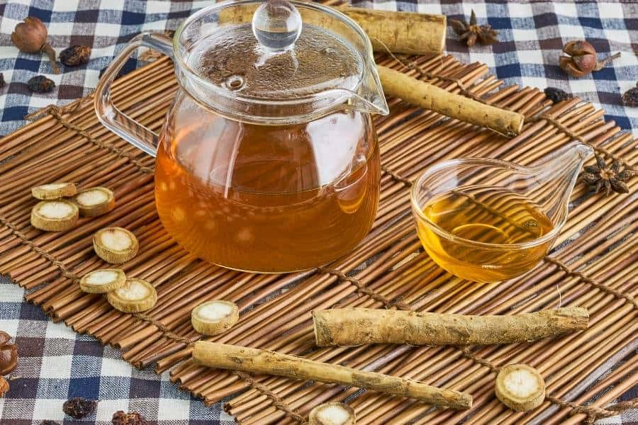 burdock root tea on bamboo