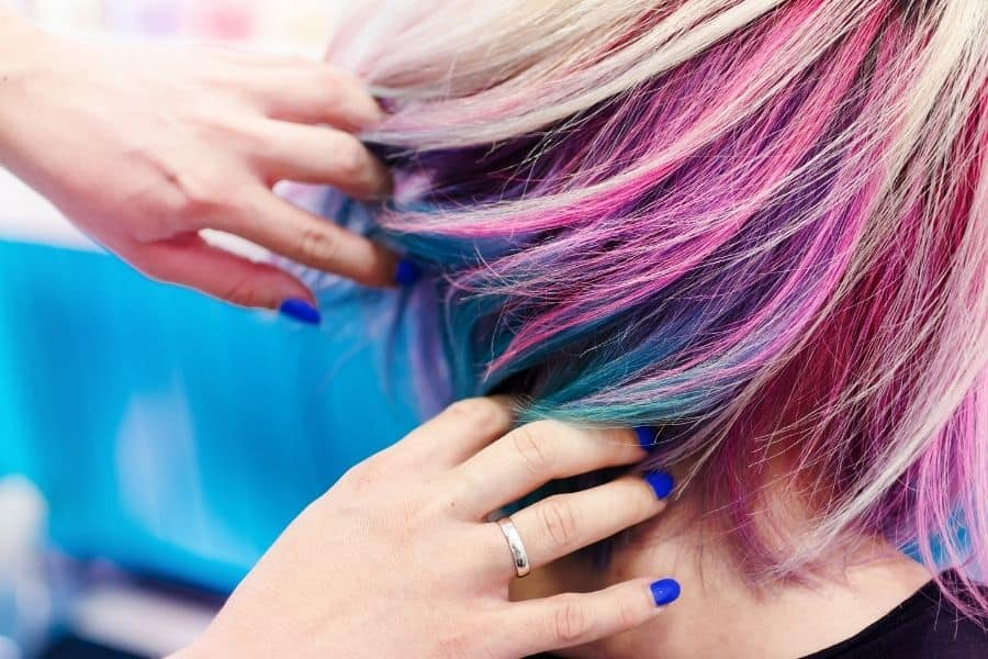 woman with multi colored hair