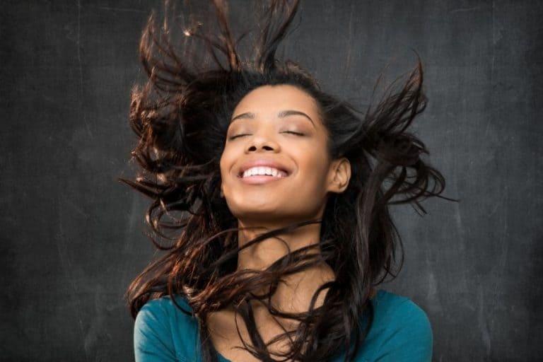 Woman happy hair