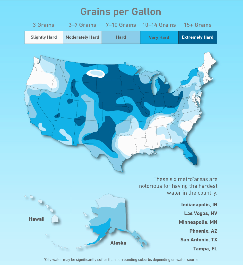 hard and soft water map for the USA