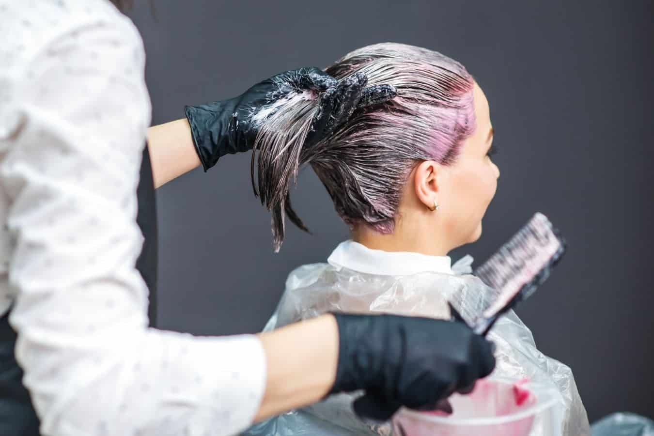 woman getting hair colored